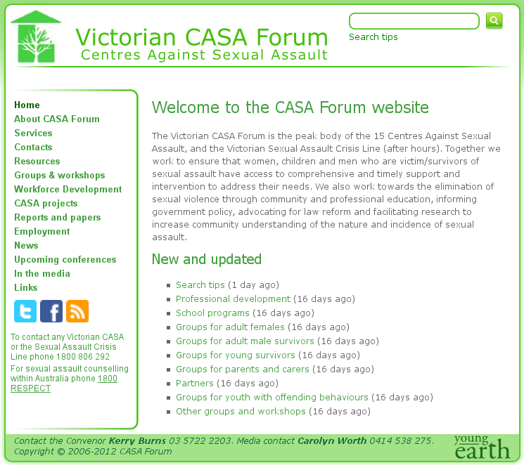 CASA (Centres Against Sexual Assault) Forum - designed with SilverStripe CMS