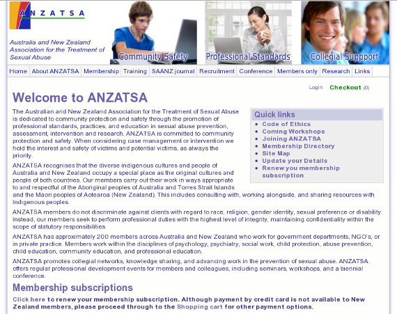 The Australian and New Zealand Association for the Treatment of Sexual Abuse - designed with a custom coded CMS