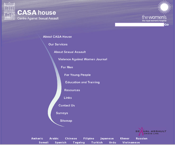 CASA House Centre Against Sexual Assault - designed with a custom coded CMS