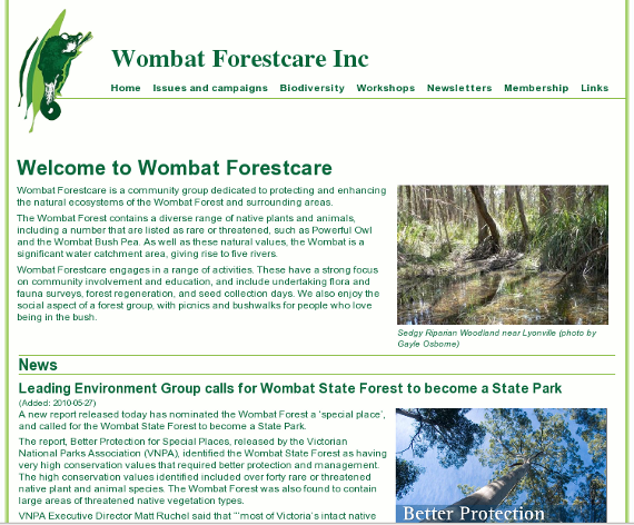 Wombat Forestcare - designed with a custom coded CMS